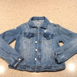 Girls distressed denim jacket